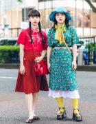 Harajuku Retro Vintage Street Styles w/ Twin Braids, Floppy Hat, Okadaya Ribbon Choker, Print Dress, Merlot Tabi Shoes & Out Of The World Platform Sandals