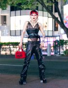 Red & Black Avantgarde Harajuku Street Style w/ Sheer Lace Bodysuit, Corset, Marques Almeida Leather Pants, Platform Boots & Dior Bag