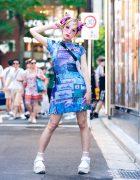 Harajuku Monster Girl w/ HOROSCOPEZ Vaporwave Dress, Gallerie Tokyo Mesh Bag & Platform Glitter Sandals