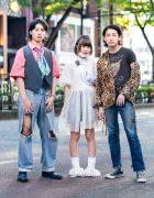 Japanese Teen Trio Streetwear Styles w/ Vampire Fangs, Plaid Vest, Tommy Hilfiger, Sheer Dress, Merry Jenny, Converse & Resale Fashion