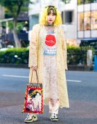 Tokyo Floral Lace Style w/ Handmade Graphic Print Bag & Pierre Hardy Sneakers