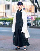 Yohji Yamamoto Monochrome Street Style w/ Blunt Bob, Y-3 Long Shirt, Y's Bang On! Wide Leg Pants, SAAD &a VIC Leather Slides