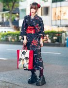 ACDC Rag Harajuku Japanese Yukata Street Style w/ Twin Buns, Butterfly Brooch, Lace Tights, Geisha Bag & Demonia Platforms