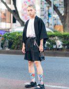 Japanese Monochrome Menswear  w/ Ash Gray Hair, Ivory Bead Necklace, Kimono Jacket, Gucci Chain Purse & Nike Tabi Sneakers