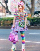 Kawaii Rainbow Street Fashion w/ Big Hair Bow, WC Shirt, Unicorn Print Skirt, Powerpuff Girls, 6%DokiDoki, Sanrio Tote & YRU Platforms