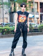 Harajuku Guy in Death Angel T-Shirt, Chain Wallet, Spider Necklace, Demonia & Faith Tokyo