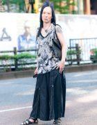 Harajuku Street Style w/ Monochrome Fashion, Tattoos, Crocodile Leather Pouch, Ozzon Japan & Civarize