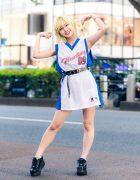 Tokyo Athleisure Street Style w/ Green Hair, Belted Vintage Hurley Jersey & Yosuke Sneakers