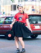 Stray Cats & Vinyl Harajuku Street Style w/ Record Headpiece, Flared Skirt, G2? Vinyl Record Bag & Dr. Martens