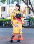 Harajuku Kimono Style w/ Beaded Headband, lilLilly Floral Lace Top, Kinji Sheer Skirt, Cat  Bag & Ne-Net Shoes