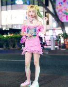 Pink Kawaii Harajuku Street Style w/ Colorful Hair, Vintage/Remake Off-Shoulder Dress, 80s90s00sdolls Accessories, Rainbow Bag & WC Sneakers