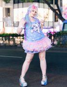 Pastel Kawaii Street Look in Harajuku w/ Pastel Hair, Koromo Top, Bodyline Tulle Skirt, ACDC Rag, Cinnamonroll, 6%DokiDoki, Kuchidake Bancho & Demonia Caged Platforms