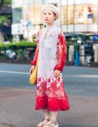 Japanese Hair Stylist in Chic Street Style w/ Beret, Hawkins, Quarter Gallery & Vintage Fashion