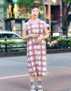 Harajuku Street Style w/ Kuroneko Shaved Hairstyle, Twin Buns, Merry Jenny Belted Dress & Bershka Glitter Sneakers
