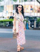 Faline Tokyo Owner On The Street in Harajuku w/ Harley Viera-Newton Dress, Charlotte Olympia Leopard Bag, Morgan Homme, Chanel & Miu Miu
