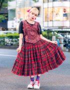 HEIHEI Heart Harness Vest & Plaid Skirt in Harajuku w/ Neon Moon & Tokyo Bopper