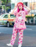 Hello Kitty Harajuku Street Style w/ Strawberry Beret, Pink Hair, Kiki2 Kawaii Vintage, Spinns, San-biki No Koneko, Kinji & Syunsoku Sneakers