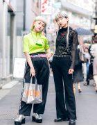 Harajuku Girls Streetwear Styles w/ Neon Hair, LED Necklace, Sheer Blouse, Bottle Cap Belt, DLSM Bag