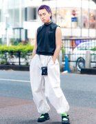 Purple-Haired Harajuku Guy in Casual Monochrome Street Wear w/ Alexander Wang Sleeveless Top, Parachute Pants, NCP Dress, D.TT.K & Nike Tabi Sneakers