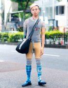 Harajuku Stylist w/ Tan Hat, Marjan Pejoski Sheer Bodysuit, Cycling Shorts, Graphic Print Socks, Longchamp Bag & Office Kiko Shoes