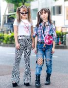 Harajuku Girls  w/ Twin Tails, Bersha Dragon Shirt, (ME) Harajuku Zebra Pants, Ripped Jeans w/ Fishnets, Plaid Shirt, Leather Boots & Enver Platforms