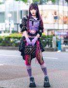 Harajuku Streetwear Style w/ Purple Hair, Lace Gloves, Vintage Polka Dot Skirt, Vivienne Westwood & Demonia Platforms