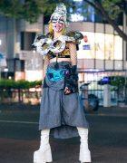 Avant-Garde Tokyo Street Style w/ Metallic Headpiece, Shoulder Pads, Fishnet Sleeves & Platform Boots
