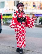 Checkered Yukata Street Fashion in Harajuku w/ Twin Purple Braids, Listen Flavor Pentagram Beret, GLAVIL by tutuHA Corset, WEGO & High Top Sneakers
