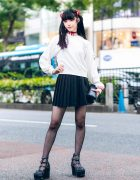 Evangelion Tokyo Street Style w/ Twin Tails, Interface Headset, Dripping Blood Jewelry, Pleated Skirt & Demonia Platforms