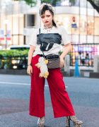Harajuku Rock Look w/ Rolling Stones Shirt, Red Pants, Sinz Amplifier Bag & OK Zebra Print Boots