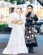 Japanese Shironuri & Lolita Street Fashion in Harajuku w/ Feather Eyelashes, Lace Headdress, Violet Fane, Abilletage, Baby The Stars Shine Bright & Remake Fashion