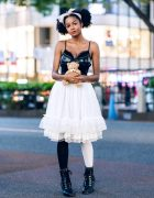 Tokyo Street Fashion w/ ACDC Rag Leather Corset Top, Closet Child Tulle Skirt, Teddy Bear & Claire's Tiara