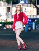 Frilly Harajuku Street Style w/ Angelic Pretty, Snidel Ruffle Shorts, Baby The Stars Shine Bright & Remake Fashion