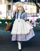 Harajuku Street Style w/ Blonde Ringlets, Bow Headdress, Floral Print Dress, Apron Skirt, Satsuski Amamiya Bear Bag, Millna, Cold Sleep & GU Ballerina Flats