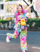 Colorful Kawaii Harajuku Street Style w/ Rainbow Hair Falls, Decora Hair Clips, ACDC Rag, Kobinai, El Rodeo, Duck Plushie & Yosuke Platforms