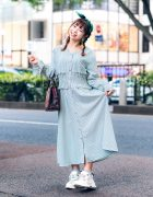 Vintage-Inspired Tokyo Street Style w/ Headscarf, Striped Dress, Handmade Earrings, Vintage Handbag & Gucci Chunky Sneakers