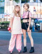 Pink Harajuku Styles w/ Twin Braids, Fishnet Bodysuit, Candy Stripper, Forever21, (ME) Harajuku, Milk & WEGO