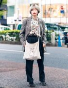 Oversized Preppy Streetwear Style w/ Fringed Bob, Forever21 Floral Shirt, Plaid Blazer, Pleated Pants, Yelp Sling Bag & Dr. Martens