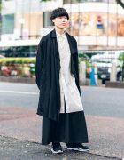 Yohji Yamamoto Monochrome Menswear Street Style w/ Blunt Bob, Asymmetric Coat, Long Shirt, Maxi Skirt & Two-Tone Sneakers