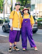 Color-Coordinated Harajuku Street Styles w/ Bucket Hat, Cross Colours, Champion Hoodie, Tommy Hilfiger Overalls, Dickies, G-Shock & Adidas Sneakers