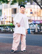 Minimalist Streetwear Fashion w/ Green Highlights, Handmade Leather Cuff, LAD Musician Graphic Shirt, Sub-Age Pants & Reebok Sneakers