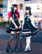 Japanese Goth Style vs Gothic Lolita w/ Two Tone Twin Tails, Kuuai Headdress, Spiny Cream, Baby The Stars Shine Bright Heart Bag, Miho Matsuda, Brindle Armor Rings, Putumayo & Demonia