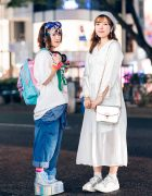 Japanese All White & Decora Streetwear Styles w/ Goggles, Decora Hair Clips, OOTD Japan Shirt, H&M, Jouetie, La Belle Etude Camisole Dress, ACDC Rag, Spinns & Tokyo Bopper