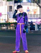 Harajuku Guy's Streetwear Fashion w/ Round Glasses, Cote Mer Graphic Sweatshirt, CCG Denim Overalls & Pharrel Williams x Adidas CNY Sneakers