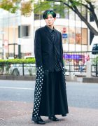 Monochrome Tokyo Street Style w/ Extra-Long Sleeves, Green Hair, Comme des Garcons, LAD Musician & Handmade Fashion