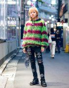 Tokyo Punk Street Style w/ Dog Harajuku Loose Knit Sweater, Remake Anarchy Jeans, 99%IS-, BlackMeans & New Rock