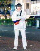 All White Harajuku Street Style w/ Twin Hair Buns, UNIQLO Hoodie Sweater, GU Pants, WEGO Two-Tone Waist Bag & Nike Sneakers