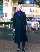 Long Pleated Coat in Harajuku w/ COS Fashion, Tokyo, Bopper Shoes & Vintage Coach