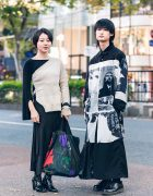 Monochrome Japanese Streetwear Styles w/ UN3D. Sweater, Emoda Asymmetric Skirt, Yohji Yamamoto Black Scandal Graphic Shirt, Not Conventional Wide Pants, Y's, Evris & Dr. Martens