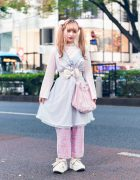 Layered Pastel Street Style in Harajuku w/ Curly Twin Tails, Pom Pom Hair Ties, Pink House Sheer Camisole, Resale Fashion, Handmade Tulle Bag & Tokyo Bopper Bow Shoes